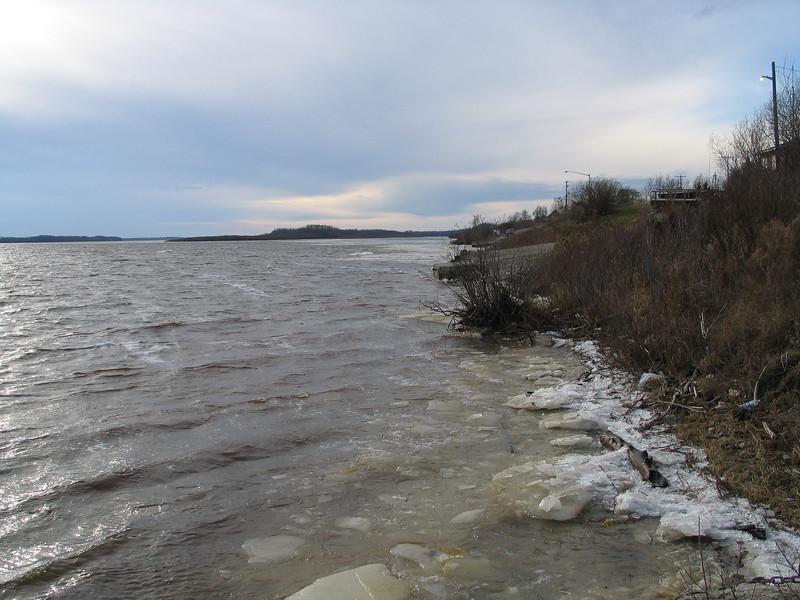 2003 November 20 Moose River shoreline looking up river past Two Bay docks.