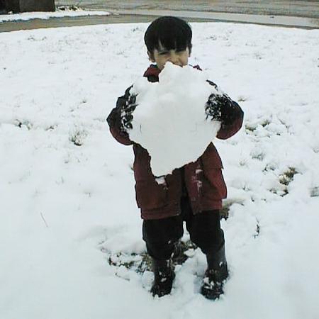 David holding big snowball May 19, 1999