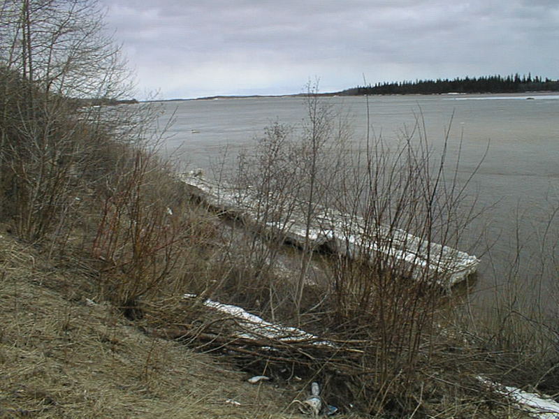 2002 May 3 looking down the Moose River. Some ice left along the shoreline.