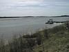 1998 May 11 looking up the Moose River from atop river bank past Polar Princess.