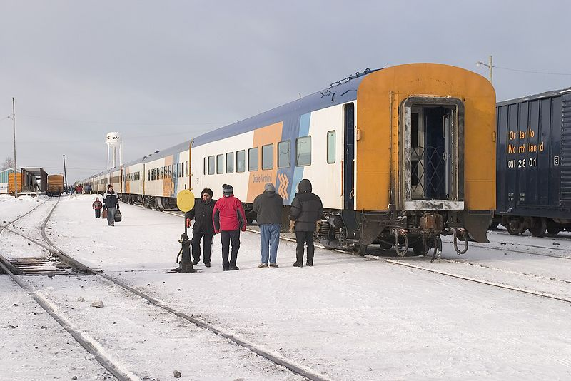 Passengers at the end of Little Bear mixed train in Moosonee. March 12, 2005.