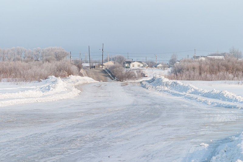 Moosonee from the winter road across the Moose River. Looking towards McCauley's Hill. 2005 March 14.