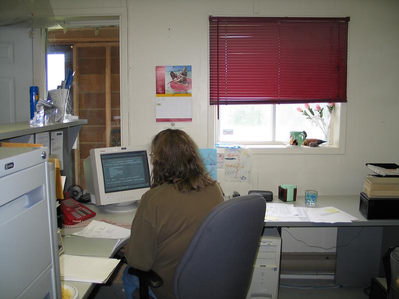 Trina Hookimaw at reception desk 2004 July 14