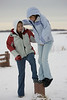 Sylvia Wesley, aged 19 and Wendy Wesley aged 15 demonstrate their balance atop a pole in Moosonee. [Wendy will be 15 on January 5, 2007]