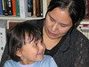 Loretta Loon with her daughter Meridian on Loretta's last day at Keewaytinok Native Legal Services 2004 July 16