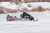 Snowmobile and sled on the Moose River 2007 February 25th.