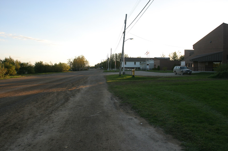 Revillon Road looking towards downtown from in front of Keewaytinok Native Legal Services 2004 September 29.