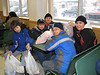 Bishop Belleau School students waiting for their order in the Quickstop in the Moosonee Northern Store when it still had fixed tables and bench seats. 2006 December 20th.