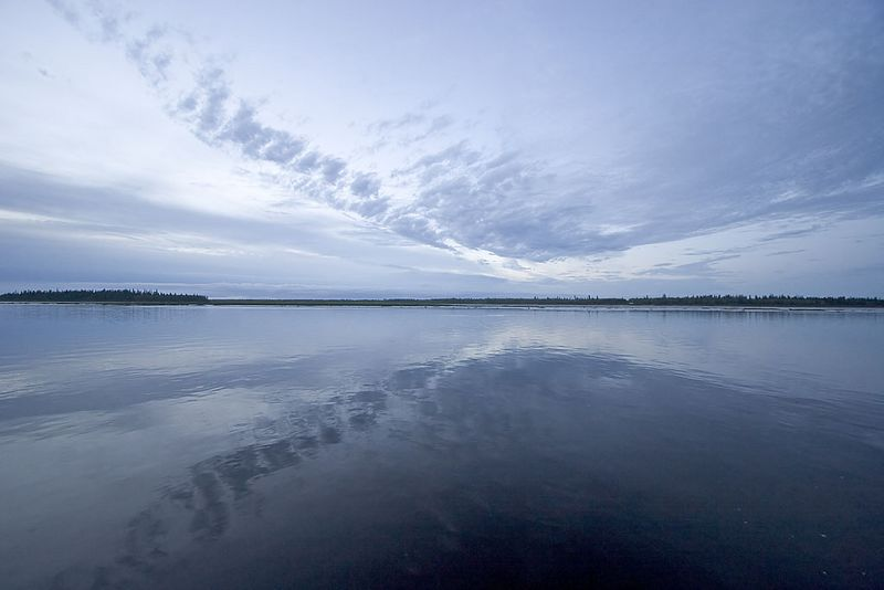 Clouds reflected in the Moose River 2005 June 16