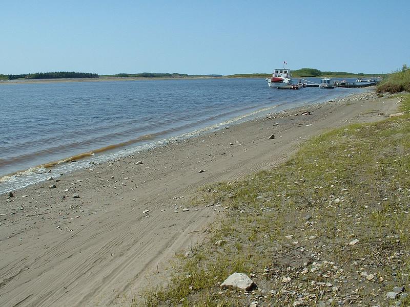 Moose River shoreline looking up the river towards docks. Polar Princess tour boat at Two Bay docks. 2003 June 12th.