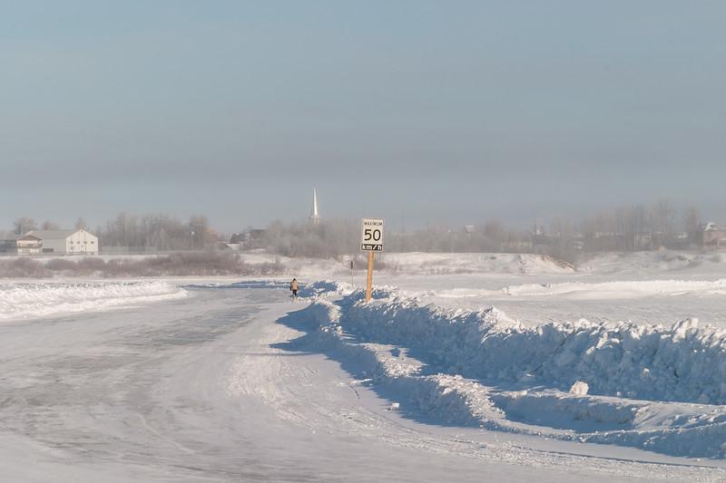 2005 March 14 road across the Moose River looking towards Moosonee.