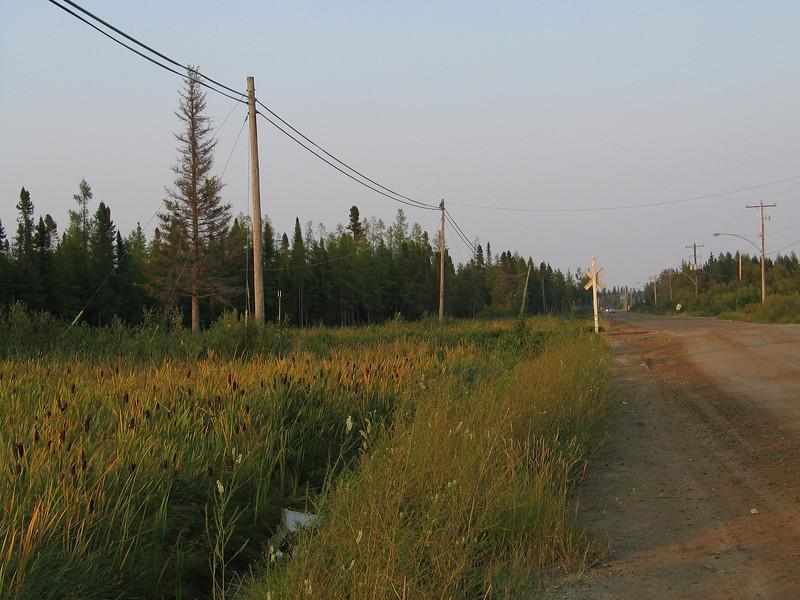 Bay Road in Moosonee looking from just before railway crossing towards former base.