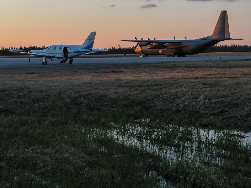 C-130 Hercules at Moosonee Airport for evacuation from Attawapiskat flooding.