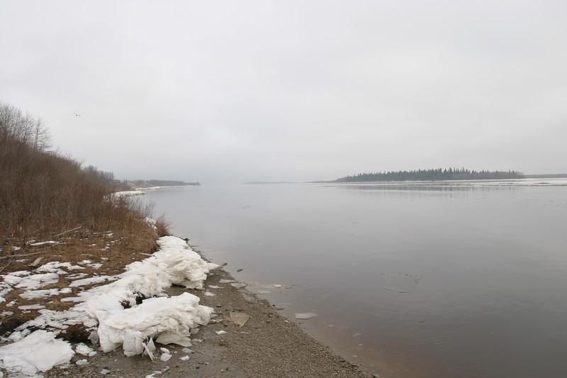 Moose River shoreline 2004 November 17 looking towards Butler Island.