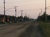 Bay Road in Moosonee looking from railway crossing towards downtown.