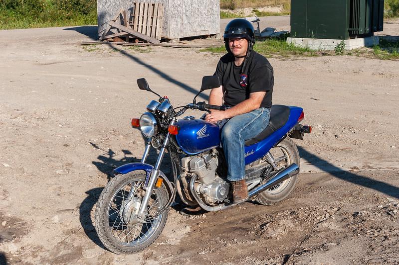 Craig Jennings on motorcycle 2005 August 24