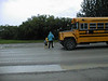 David Hunter going to board bus for first day of school 1998 August 28