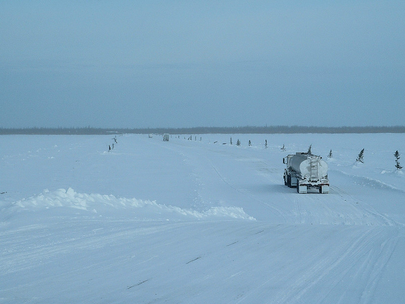 Fuel trucks crossing the Albany River 2004 February 20
