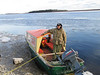 Leo Etherington in his taxi boat at public dock site 2003 November 22.