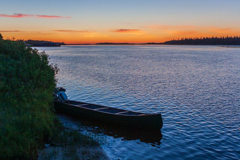 Canoe on the Moose River before sunrise 2005 August 8
