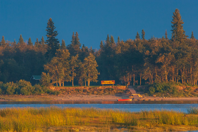 Tidewater Provincial Park. Large sign and dock in place. 2005 September 1 744 pm