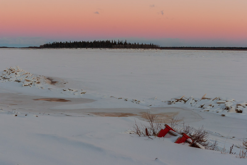 Looking across the Moose River towards Butler Island from public docks site 2005 November 26.