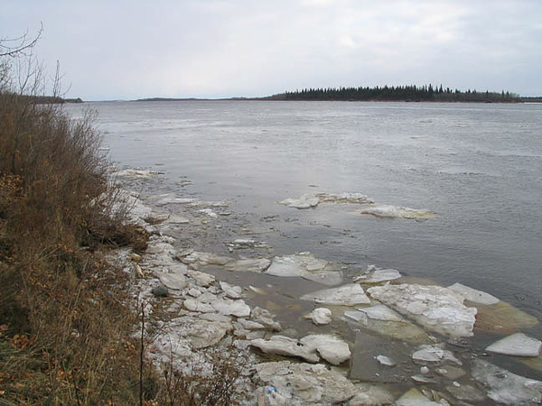 2003 November 21st. A bit of ice along the edge of the Moose River looking down river and towards Butler Island.