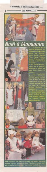 Les Nouvelles 2005 December 28 Noël à Moosonee. Photos by Paul Lantz taken in the French Language Instructional Unit at Bishop Belleau School.