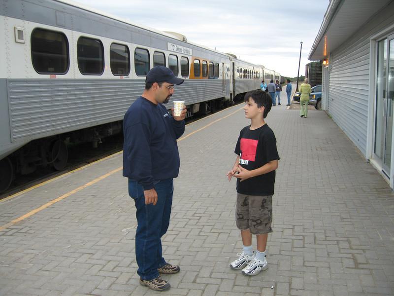 David Hunter Sr. with David Hunter at Moosonee train station 2005 September 13