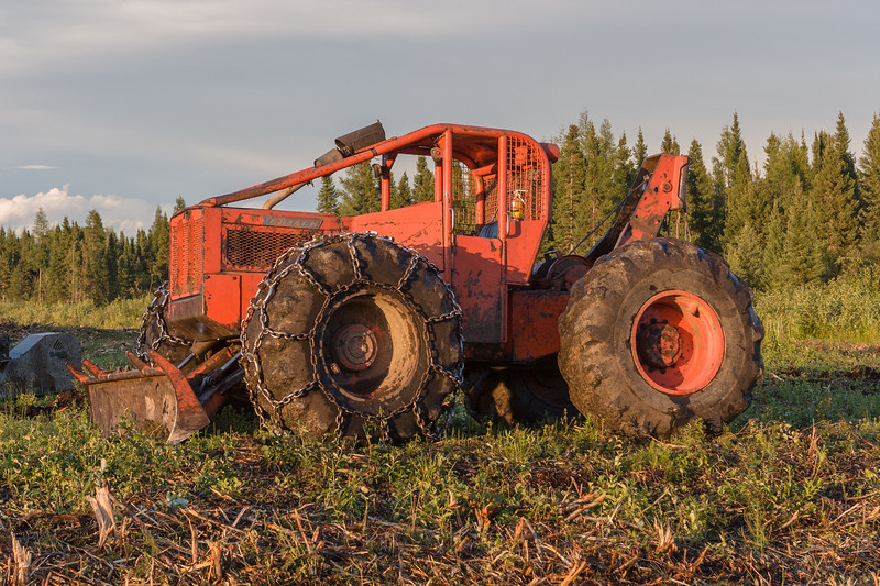 Clearing land for DeBeers Moosonee yard. Skidder 2005 August 10