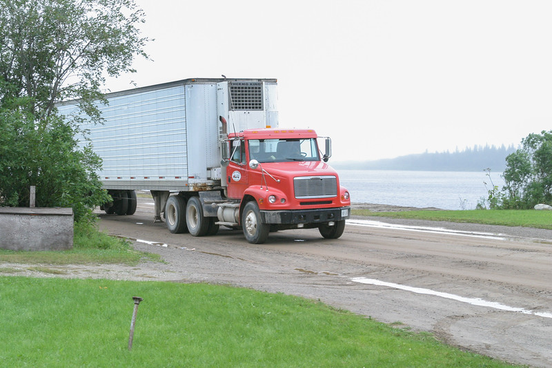 Truck and trailer on Revillon Road in Moosonee 2004 August 27