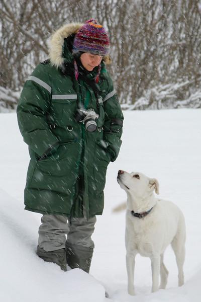 Carole Ferrari in Moosonee with her dog Floppy.