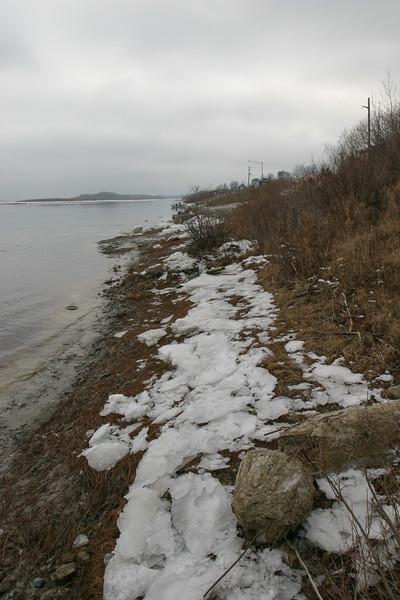 Moose River shoreline 2004 November 17 looking up river towards Two Bay dock site.