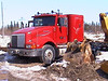 Red truck at the base 2003 April 13