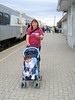 Jackie Linklater with baby in stroller at Moosonee train station 2005 September 13