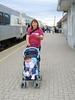 Jackie Linklater with baby in stroller at Moosonee train station 2005 September 13