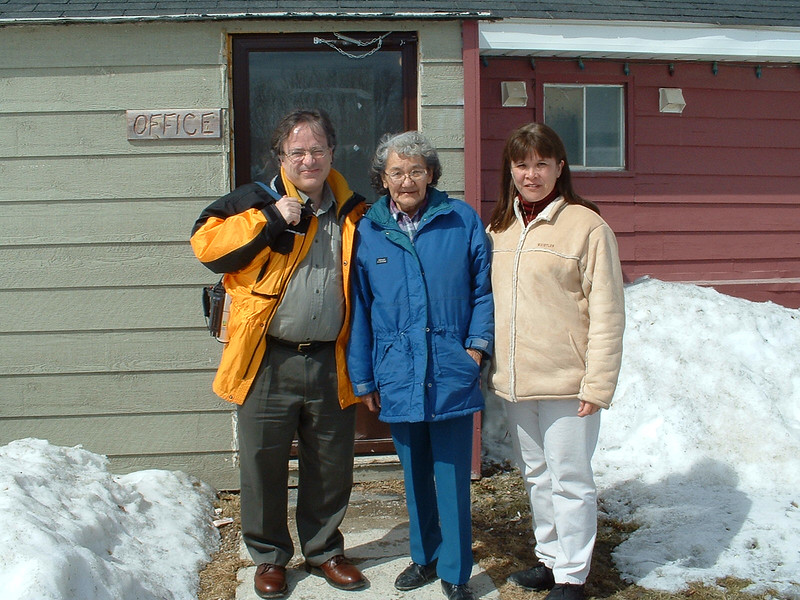 Dorothy Wynne with two people outside Keewaytinok Native Legal Services 2003 April 15th.