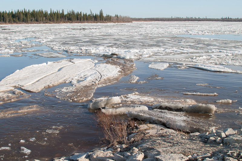 Ice moving on the Moose River. Butler Island in the distance.