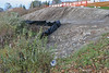 With thePolar Bear Lodge in background, shoreline rehabilitation work showing geotextile fabric above Two Bay docks. 2004 October 23.