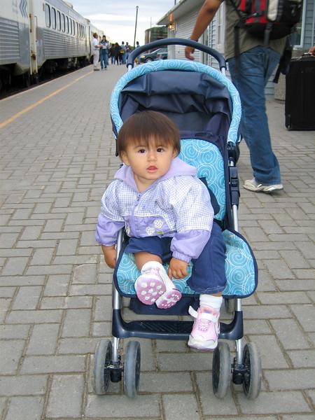 Baby at train station in Moosonee 2005 September 13