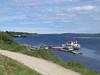 Moosonee river shoreline from Two Bay docks to barge docks and beyond in Moosonee.