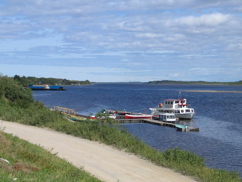 Moosonee river shoreline from Two Bay docks to barge docks and beyond in Moosonee. 2003 September 2