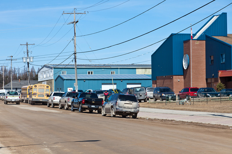 Almost lunch time, First Street in Moosonee.