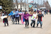 March by school children in Moosonee, Ontario in support of Shannen's Dream - Equitable Funding for First Nation Schools.