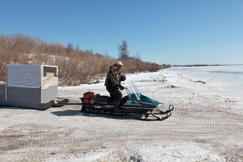 Robert Blueboy heads to Moose Factory with a load of soft drinks.