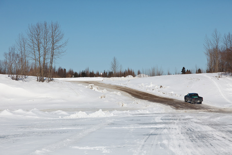 """The Moosonee end of the """"north"""" winter road to Moose Factory."""