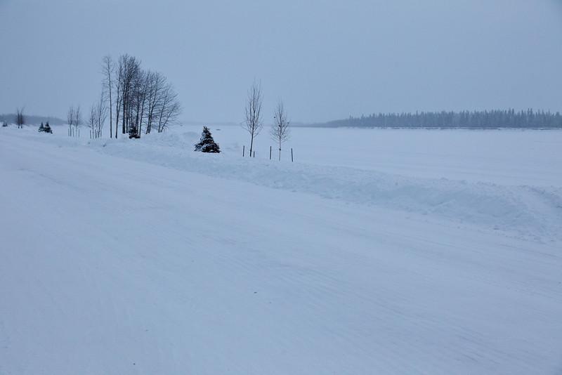 Looking down the Moose River in Moosonee, Ontario along Revillon Road 2011 January 21st.