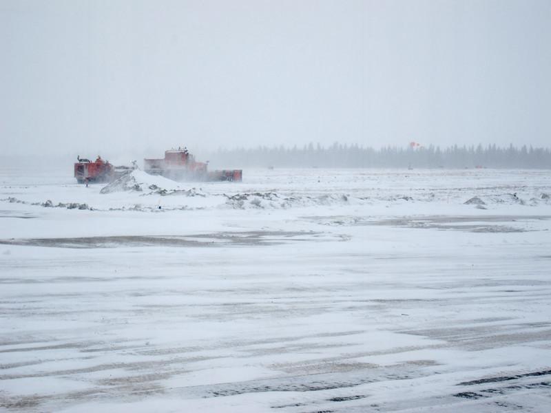 Moosonee Airport snowplowing 2011 April 18th
