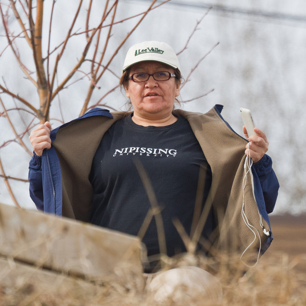 Denise Metatawabin wearing Nipissing University shirt
