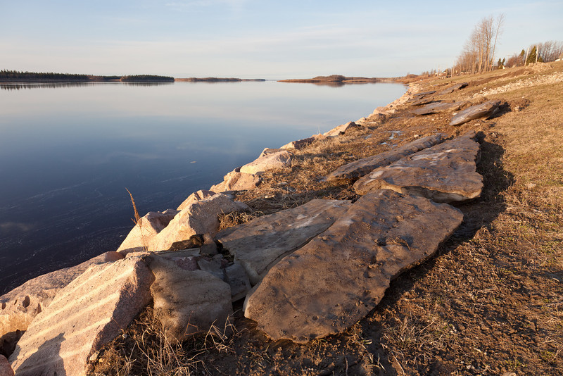 Stranded ice melting along the shore of the Moose River 2011 May 11th